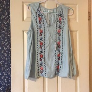 Chambray Tank Embroidery Design Old Navy XL